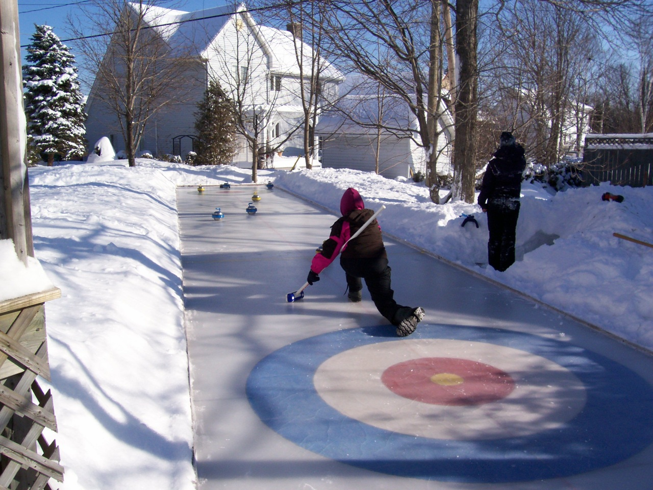 homemade outdoor curling rink i would be all about having